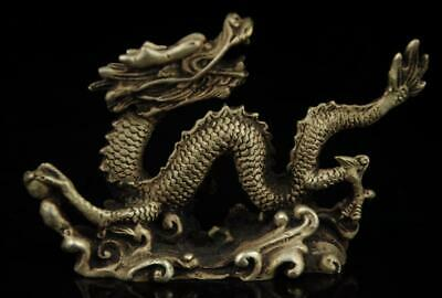 Old chinese carved buddha copper plating silver dragon statue collectibles a02