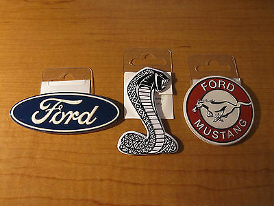 (3) FORD Cobra Gas Oil & FORD Oval Emblem & MUSTANG Garage Metal Toolbox Magnets