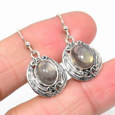 "Canadian Labradorite Vintage 925 Sterling Silver Earring 1.18"" (55)"