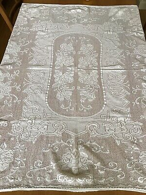 Vintage White Foral Lace Cotton Tablecloth - 130Cm X 130Cm.