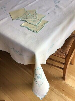 Vintage Cotton Embroidered Tablecloth With 4 Matching Napkins - Lemon And Green.
