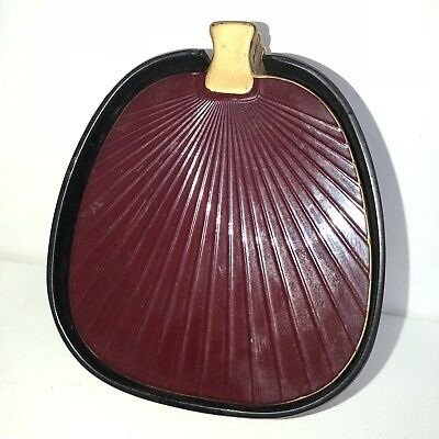 Imperial lacquer ware coasters drink red black fan shaped set 6 vintage Japanese