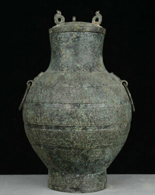 "14"" Ancient Chinese Old Bronze Dynasty Palace Beast Face Head Pot Jar Crock Ware"