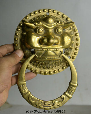 20CM Old Chinese Copper Feng Shui FU lion Beast Head Bat Ring Door knocker Z07