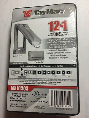 TayMac MX1050S Duplex Weather Proof Receptacle Cover - Gray