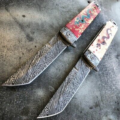 """8"""" Dragon Tanto Damascus Etch Style Spring Assisted Open Folding Pocket Knife"""