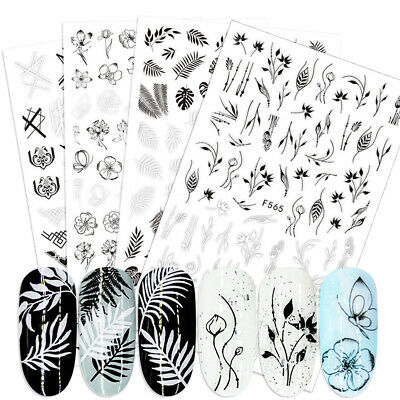 3D Adhesive Nail Stickers Decals Flowers Leaf Geometry Designs Full Wraps Decor