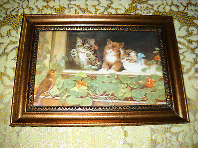 3 CATS WATCH BIRD 4 X 6 gold framed animal picture Victorian style art print