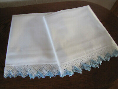 Vintage Pair Of White Pillowcases Fancy Blue White Crocheted Trim Work Exquisite