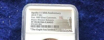 "2019 P Apollo 11 50th Ann. Proof Silver Dollar NGC PF70 ""Moon Mission Releases"""
