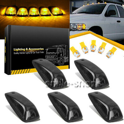 Base Kit For 88-02 GMC Chevy 5x LED Roof Cab Marker Light Smoke Covers Lens