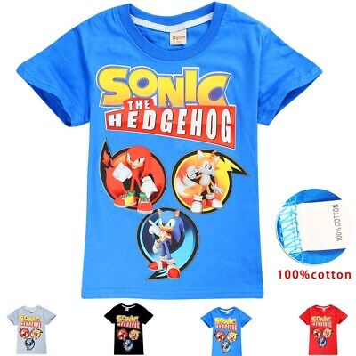 Sonic The Hedgehog boys girls kids summer t-shirt top size 3-10 AU 100%cotton