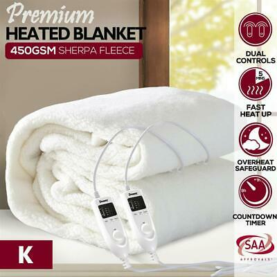 Dreamz Bedding Fleecy Electric Blanket Heated Warm Fully Fitted Washable S/D/Q/K
