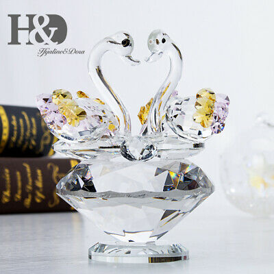Cute Animal Swan Crystal Glass Figurine Ornaments For Valentine Lady Gift Decor