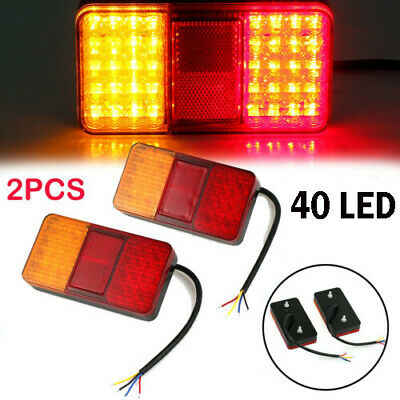 2x TRAILER LIGHTS 40LED STOP TAIL INDICATOR REFLECTOR TRUCK CAMPER LIGHT 12V