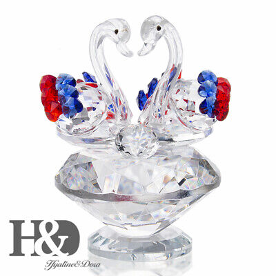 Swan Crystal Glass Figurine Ornaments With Diamond For Valentine Lady Gift Decor