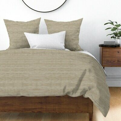 Beach Linen Texture Burlap Natural Tan Taupe Sateen Duvet Cover by Roostery