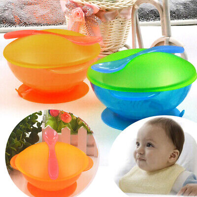 Baby Tableware Suction Bowl + Temperature Sensing Spoon Feeding Bowls Dishes