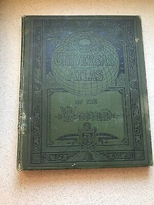 BACONS ATLAS OF THE WORLD 1913 48 Double Page Maps 100 Insert Maps Pic Found In