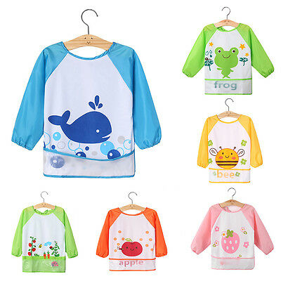 HK- BL_ Kids Baby Toddler Waterproof Long Sleeve Bib Cartoon Feeding Smock Apron
