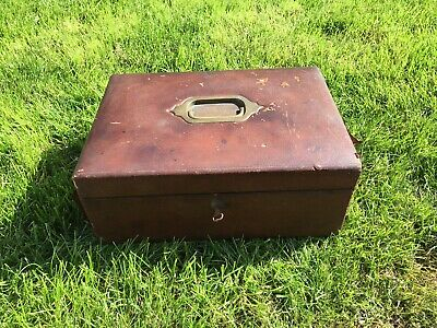 Antique Leather Covered Wooden Writing Box ,Brama Lock & Key