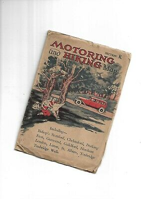 """Johnston Motoring and Hiking 3"""" Map probably 1920-30 Section K"""
