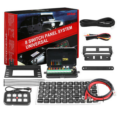 8 Gang Switch Panel Electronic Relay System 12V/24V Fit Car Boat Marine RV Truck