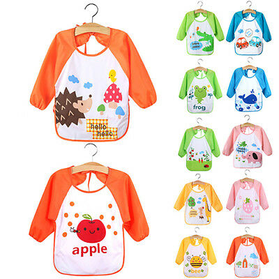 HK- KQ_ Toddler Kids Baby Cartoon Waterproof Long Sleeve Bibs Feeding Smock Apro