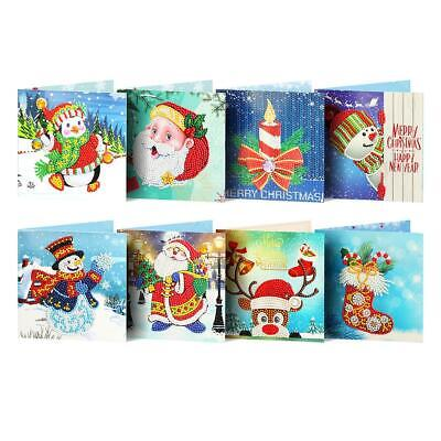 8x DIY Diamond Painting 5D Christmas Greeting Card Cross Stitch Embroidery Decor