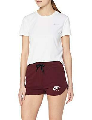 (TG. XS) Nike W NSW Air Short, Pantaloncini Donna, Night Maroon/White, XS - NUOV