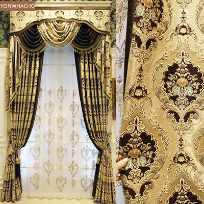 Luxury Villa thick chenille Jacquard gold cloth blackout curtain valance B536