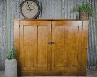 Antique Victorian Large School Masters Cupboard Pitch Pine