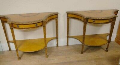 Pair Sheraton Regency Inlay Console Tables Demi Lune