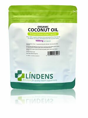 Coconut Oil 1000mg 100% Organic Capsules (90 pack) [Lindens 5927]
