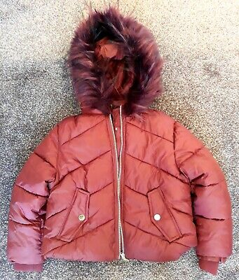 Girl's Hooded Winter Coat Padded Jacket Hooded Faux Fur Berry 6 Years