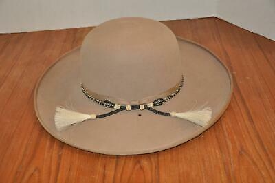 Vtg Western Cowboy American Hat Co 7 1/8 Leather Made Texas Horse Hair Band