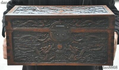 old Chinese dynasty huanghuali wood carving Dragon storage box container chest