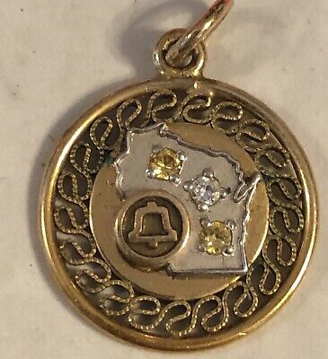 WISCONSIN Bell Telephone Years Service Award Diamond 10k Gold Pendant
