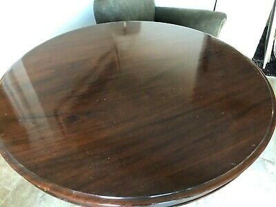 Antique Victorian Mahogany round tilting table & 4 newly upholstered chairs