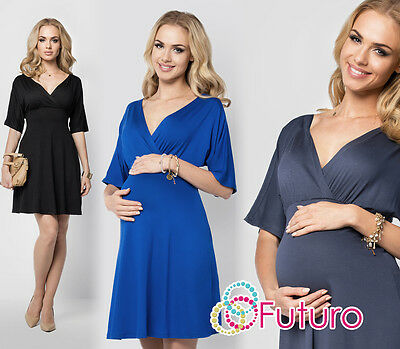 Elegant Maternity Skater Dress V-Neck 3/4 Sleeve Pregnancy Coctail Tunic FM09