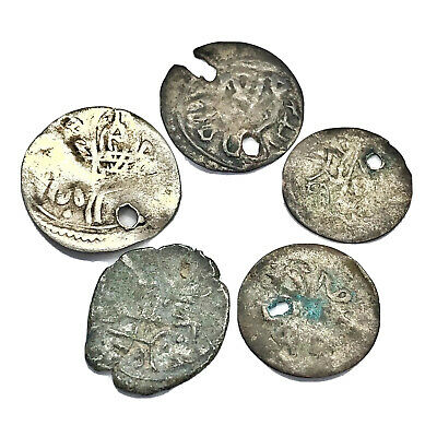 5 Silver Ottoman Empire Coins Late Medieval Islamic Turkish Middle Eastern Arab
