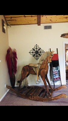 Giant adult sized antique wooden rocking horse