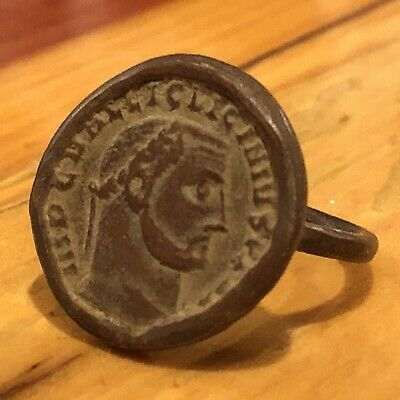 Ancient Roman Style Coin Ring Artifact Antique Seal King Maximus I 235-238 AD