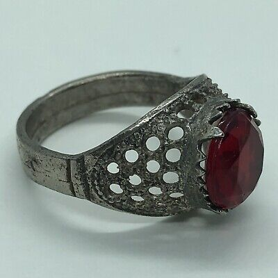 Antique Middle Eastern Post-Medieval Ring W/ Red Stone Islamic Arabic Old Arab