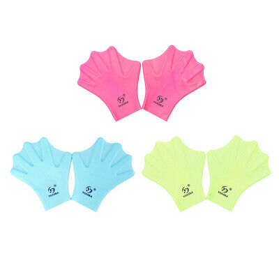1 Pair Silicone Swimming Gloves Hand Webbed Frog Finger Fins Swim Trainer