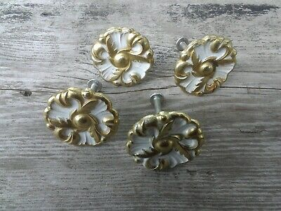 Lot of 4 Amerock French Provincial Drawer Pull Knob Gold Fancy Ornate 1 1/2""