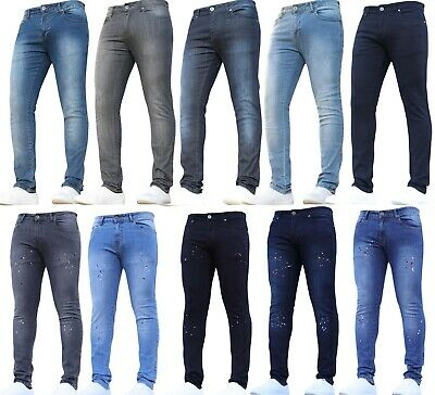 New Mens Stretch Skinny Jeans Clearance Sale Ripped Rips Distressed Paint Retro
