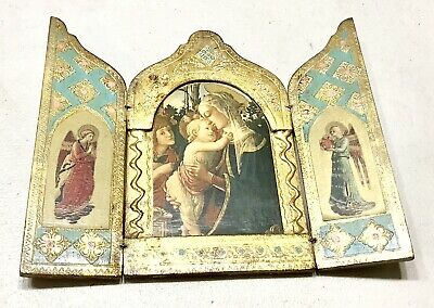 Antique Vintage 19C Russian Orthodox Hand Made Travel Folding Icon Prayer Old