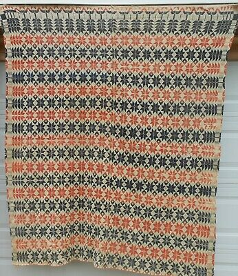 """Good Early American 2 Panel """"Snowflake"""" Coverlet, Red, White & Blue"""