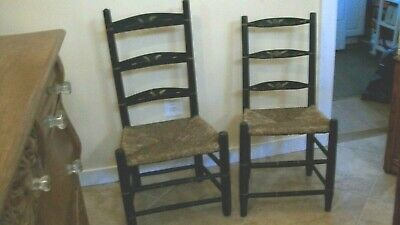 Antique Rustic Primitive, Painted Wooden, Pair Of Ladder Back Chairs, Rush Seats